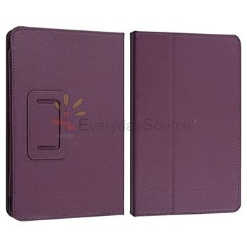 Leather Case with Stand/Car Charger/USB/Stylus/Earphone Purple