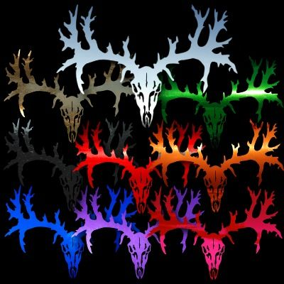 Deer Skull 8 Buck Hunting Auto Car Truck Window Sticker Decals