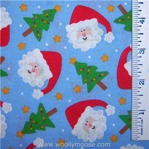 Christmas Tree Snow Santa Claus LIGHT BLUE Fabric BTY