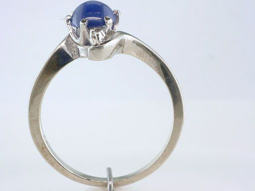 Antique Deco Genuine Blue Star Sapphire Diamond White Gold Engagement