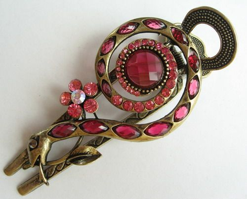 VARY COLORS SWAROVSKI CRYSTAL BIG BRONZE SNAKE HAIR BARRETTE CLIP 1457