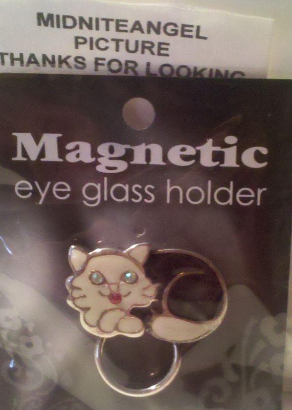 BLACK & WHITE KITTY CAT MAGNETIC EYE GLASS HOLDER