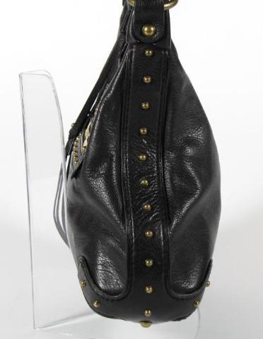 Michael Kors Black Pebbled Leather Studded Hobo Shoulder Bag Purse
