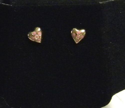 KREMENTZ CHILDS SOLID 14k gold PINK HEART earrings