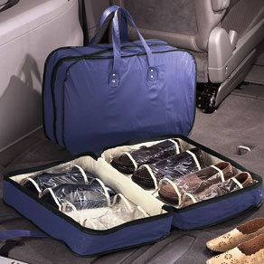 SHOE STORAGE TRAVEL CASE with handles 8 PAIR SHOES ~NEW
