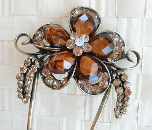 SWAROVSKI CRYSTAL BIG BRONZE FLOWER HAIR STICK PIN PICK 477